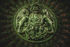 Escudo de armas real inglés en Wellington Arch Foto de archivo
