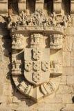 Escudo de armas real. Torre de Belem. Lisboa. Portugal Fotos de archivo libres de regalías