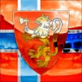 Escudo de armas y bandera de Noruega Imágenes de archivo libres de regalías