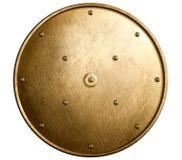 Escudo de bronce redondo aislado Imágenes de archivo libres de regalías