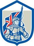 Escudo de Holding British Flag del caballero retro ilustración del vector