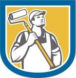 Escudo de Holding Paint Roller del pintor de casas libre illustration