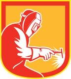 Escudo de Holding Welding Torch del soldador retro libre illustration