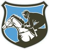 Escudo de Horse Racing Side del jinete retro ilustración del vector