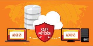 Escudo de Internet de la seguridad de la base de datos de la protección de datos Imagenes de archivo