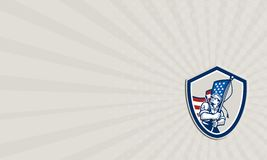 Escudo de la bandera de Waving Stars Stripes del soldado americano de la tarjeta de visita Foto de archivo libre de regalías