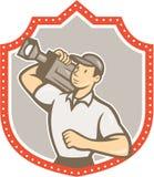 Escudo de la cámara de Vintage Film Movie del cameraman Foto de archivo