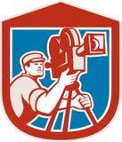 Escudo de la cámara de Vintage Film Movie del cameraman retro Foto de archivo