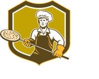 Escudo de la cáscara de la tenencia del fabricante de la pizza retro Imágenes de archivo libres de regalías
