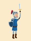 Escudo de la espada de la armadura del caballero del príncipe Fotografía de archivo