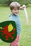 Escudo de la espada del muchacho Imagenes de archivo