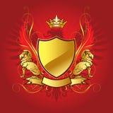 Escudo de la heráldica del oro Fotos de archivo libres de regalías