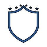 Escudo de la justicia con el icono de las estrellas Foto de archivo libre de regalías