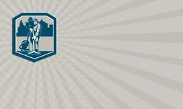 Escudo de la limpieza de Cleaner Vacuum Carpet del portero de la tarjeta de visita ilustración del vector