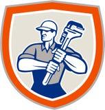 Escudo de la llave de Holding Giant Monkey del fontanero stock de ilustración