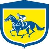 Escudo de la opinión de Horse Racing Side del jinete retro stock de ilustración