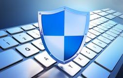 Escudo de la seguridad en el teclado - seguridad informática del concepto ilustración del vector