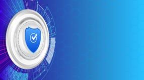 Escudo de la seguridad y fondo de la tecnología de la protección de datos Fotos de archivo libres de regalías