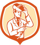 Escudo de Lab Researcher Welder del científico retro Imagen de archivo libre de regalías