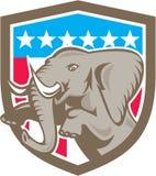 Escudo de las estrellas del elefante que se encabrita retro Imágenes de archivo libres de regalías