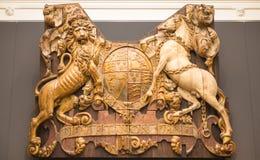 Escudo de madera Dieu y primogenitura de lunes Foto de archivo libre de regalías