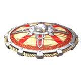 Escudo de madera de la fantas?a redonda con los partes movibles del hierro en un fondo blanco aislado ilustraci?n 3D stock de ilustración