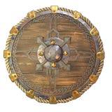 Escudo de madera de la fantas?a redonda con los partes movibles del hierro en un fondo blanco aislado ilustraci?n 3D libre illustration