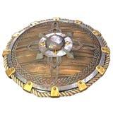 Escudo de madera de la fantas?a redonda con los partes movibles del hierro en un fondo blanco aislado ilustraci?n 3D ilustración del vector