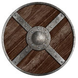 Escudo de madera redondo medieval de vikingos aislado Imagenes de archivo