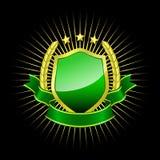Escudo de oro con la cinta verde Imagen de archivo libre de regalías