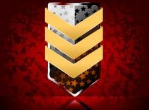 Escudo de oro con las estrellas Imágenes de archivo libres de regalías