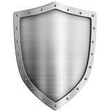 Escudo de oro del metal aislado Imagen de archivo
