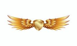 Escudo de oro heráldico con el emblema de las alas libre illustration