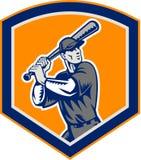Escudo del bateo del talud del béisbol retro stock de ilustración