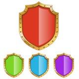 Escudo del color con el marco de oro Fotos de archivo libres de regalías