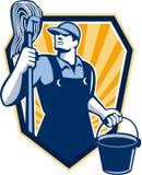 Escudo del cubo de Cleaner Hold Mop del portero retro stock de ilustración