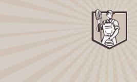 Escudo del cubo de Cleaner Holding Mop del portero de la tarjeta de visita retro ilustración del vector