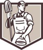 Escudo del cubo de Cleaner Holding Mop del portero retro libre illustration
