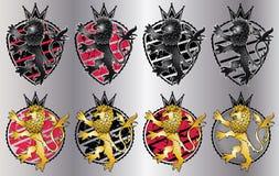 Escudo del emblema del león del rugido Brave Fotos de archivo libres de regalías