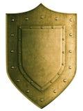 Escudo del escudo de armas del oro aislado con el recortes Fotos de archivo libres de regalías