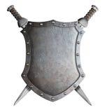 Escudo del escudo de armas y dos espadas cruzadas Foto de archivo