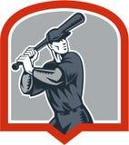 Escudo del grabar en madera del bateo del talud del béisbol stock de ilustración