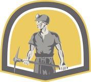 Escudo del hacha de Standing Holding Pick del minero de carbón retro libre illustration