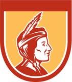 Escudo del jefe indio del nativo americano retro Fotos de archivo libres de regalías