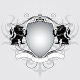 Escudo del león de la heráldica Imagenes de archivo