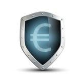 Escudo del metal con la imagen del euro Aislado en el backgroun blanco Fotos de archivo