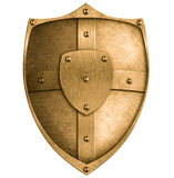 Escudo del metal del bronce o del oro aislado en blanco Imagen de archivo