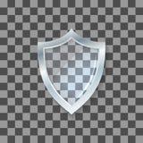 Escudo del vidrio del vector Icono de la defensa Concepto de la protección Foto de archivo libre de regalías