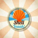 Escudo do mar na costa Vetor Imagens de Stock