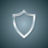 Escudo en blanco del perfil del vector Icono de la defensa Concepto de la protección Fotografía de archivo libre de regalías